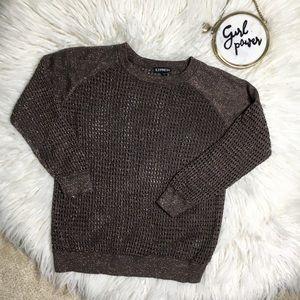 Express Bronze Metallic Loose Knit Sweater XS